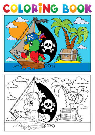 Coloring book pirate parrot theme illustration  Illustration