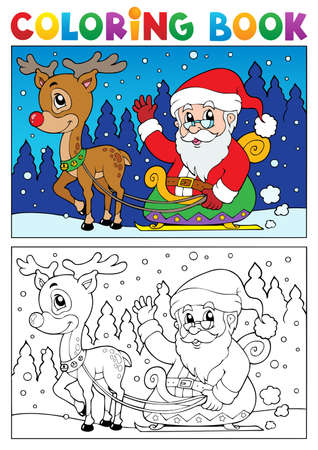 Coloring book Santa Claus topic illustration  Vector