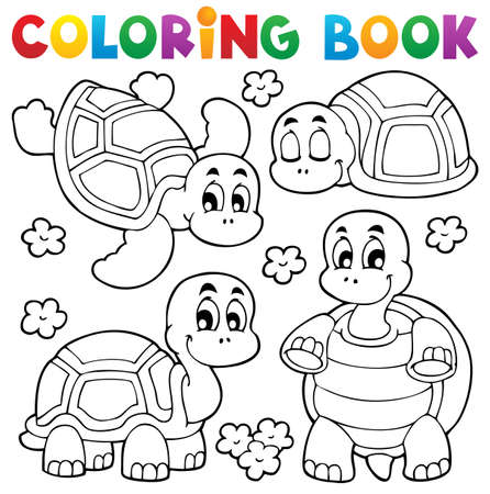 Coloring book turtle theme illustration