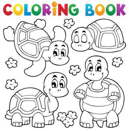 libro caricatura: Libro para colorear tortuga ilustración tema
