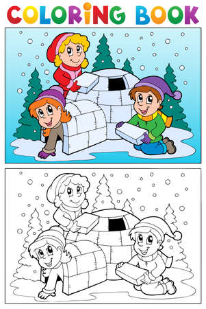 igloo: Coloring book winter topic illustration  Illustration
