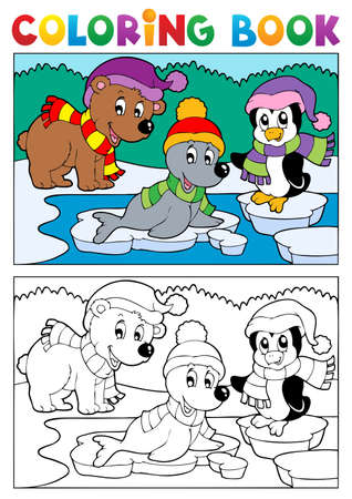 coldness: Coloring book winter topic illustration  Illustration