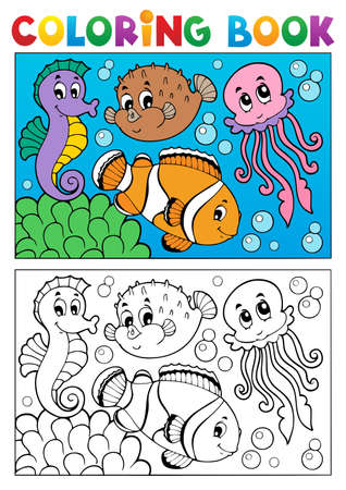 Coloring book with marine animals illustration  Vector