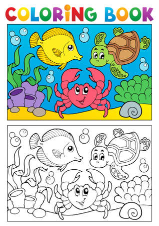 crustacean: Coloring book with marine animals illustration