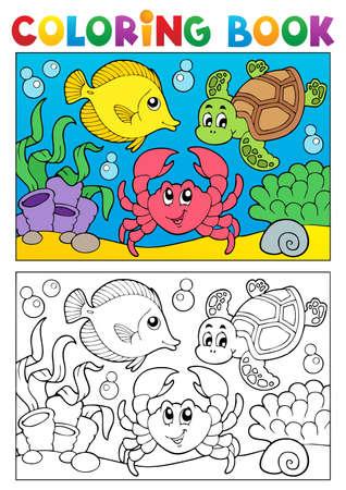 tortuga caricatura: Libro para colorear con la ilustración de los animales marinos