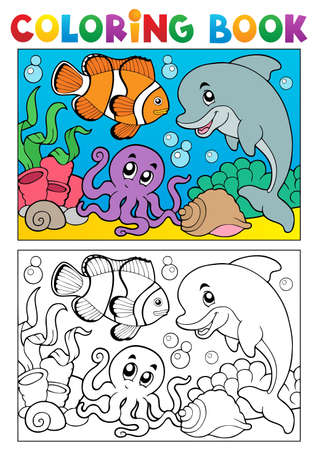 MARITIME: Coloring book with marine animals illustration