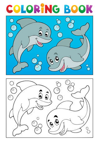 Coloring book with marine animals illustration