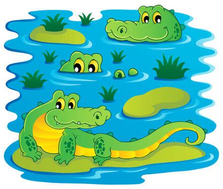 Image with crocodile theme illustration  Illustration