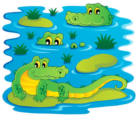 Image with crocodile theme illustration  Vector