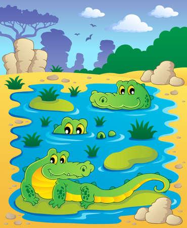 Image with crocodile theme illustration Stock Vector - 16906729