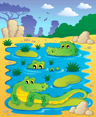 Image with crocodile theme illustration Stock Vector - 16906729