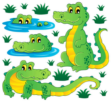 alligator: Image with crocodile theme illustration  Illustration