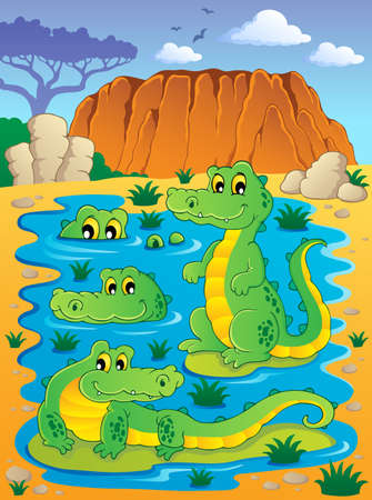 Image with crocodile theme illustration Stock Vector - 16906767