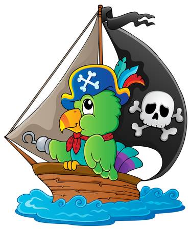 Image with pirate parrot theme illustration  Vector