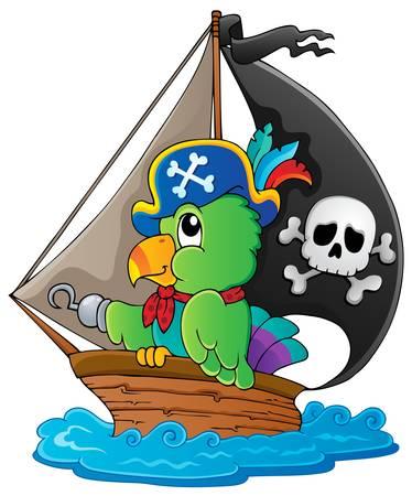 neckscarf: Image with pirate parrot theme illustration  Illustration