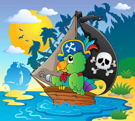 Image with pirate parrot theme illustration  Illustration