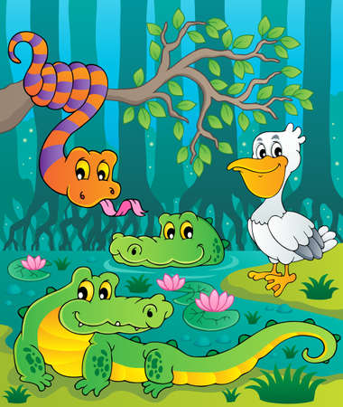 ecosystems: Swamp theme image illustration
