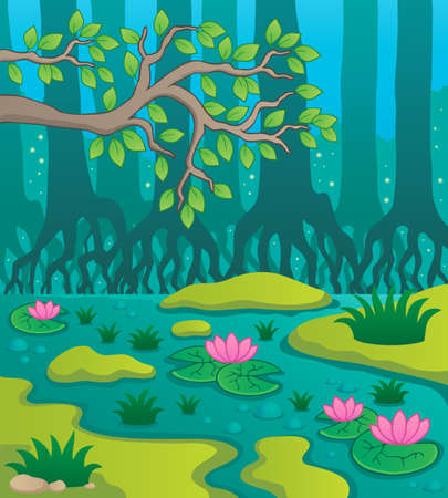 water ecosystem: Swamp theme image illustration