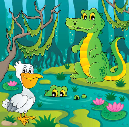 alligator: Swamp theme image illustration