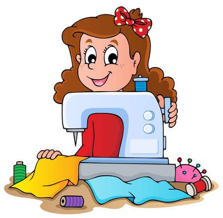 maquina de coser: Muchacha de la historieta con la m�quina de coser - ilustraci�n vectorial