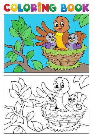 livre � colorier: Coloriage image d'oiseau livre 5 - illustration vectorielle