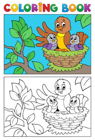 animal nest: Coloring book bird image 5 - vector illustration