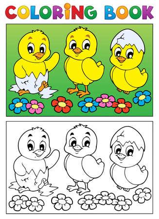 eggshells: Colorear la imagen libro p�jaro 6 - ilustraci�n vectorial