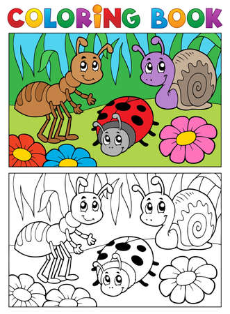 Coloring book bugs theme image 5 - vector illustration