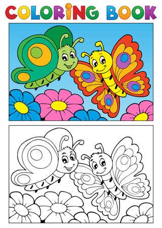 libros volando: Colorear tema del libro mariposa 1 - ilustración vectorial
