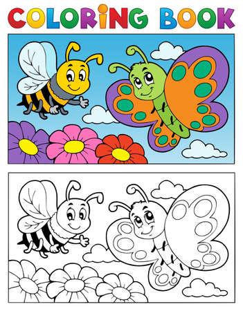 libros volando: Colorear tema del libro mariposa 2 - ilustraci�n vectorial Vectores