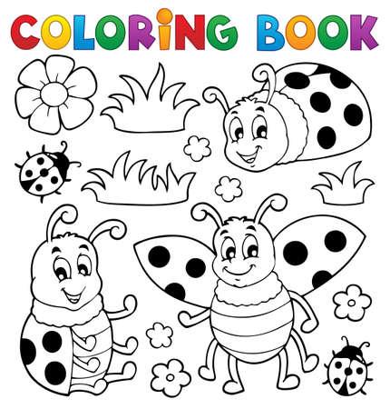Coloriage thème coccinelle livre 1 - illustration vectorielle