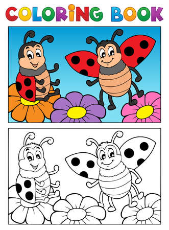Coloring book ladybug theme 2 - vector illustration  Vector