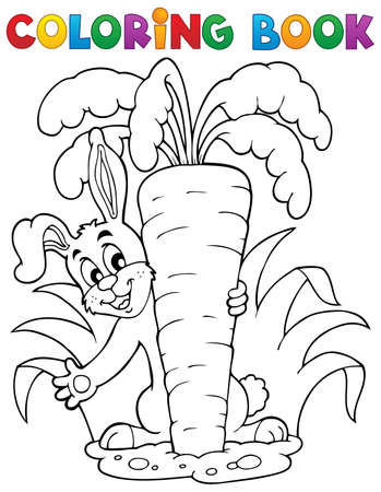 contorno: Colorear tema del libro conejo 1 - ilustraci�n vectorial Vectores