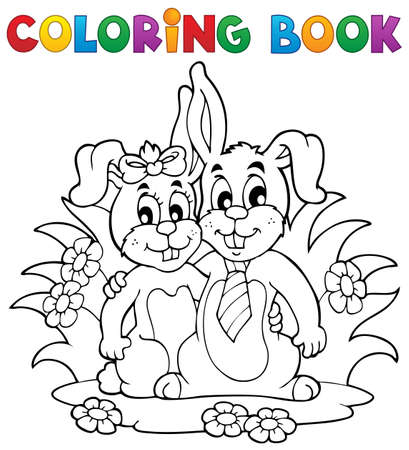 Coloring book rabbit theme 2 - vector illustration  Vector