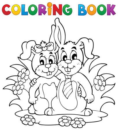 Coloring book rabbit theme 2 - vector illustration Stock Vector - 17368274