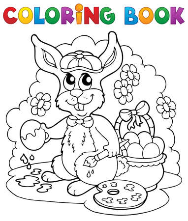 easter eggs basket: Coloring book rabbit theme 3 - vector illustration  Illustration