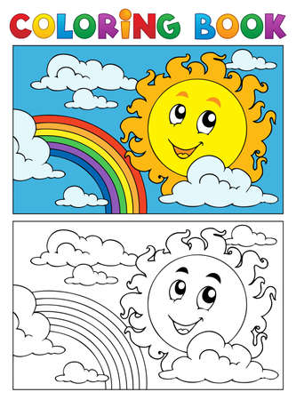 cartoon rainbow: Colorear la imagen libro verano 1 - ilustraci�n vectorial