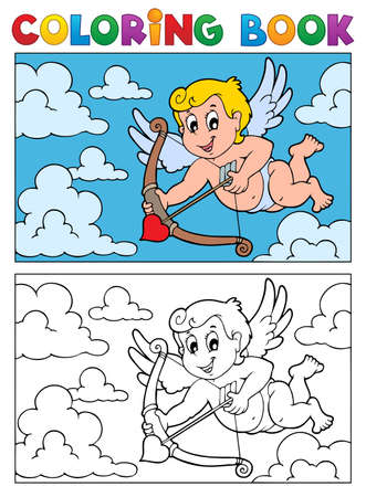 Coloring book with Cupid 2 - vector illustration  Vector