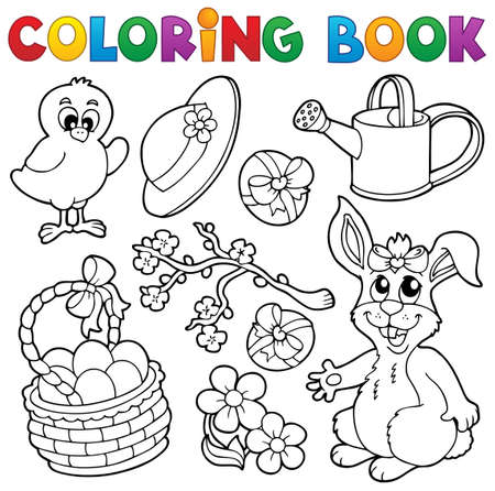coloring book: Coloring book with Easter theme 6 - vector illustration