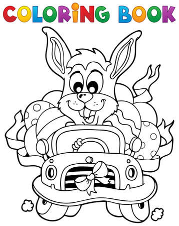 coloring easter egg: Coloring book with Easter theme 7 - vector illustration