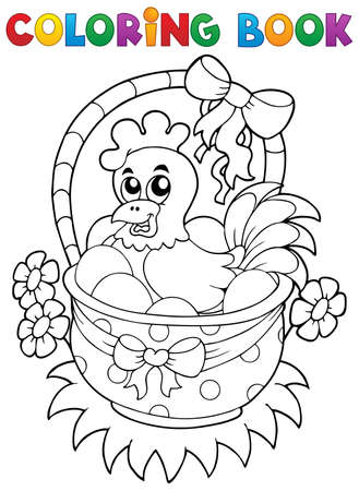 livre � colorier: Livre de coloriage avec le th�me de P�ques 8 - illustration vectorielle