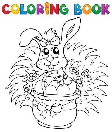 huevo caricatura: Libro para colorear con tema de Pascua 9 - ilustraci�n vectorial