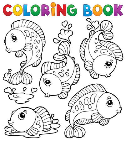 outline drawing of fish: Coloring book with fish theme 1 - vector illustration