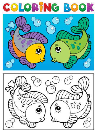 outline drawing of fish: Coloring book with fish theme 2 - vector illustration