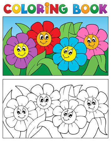 Coloring book with flower theme 1 - vector illustration  Vector