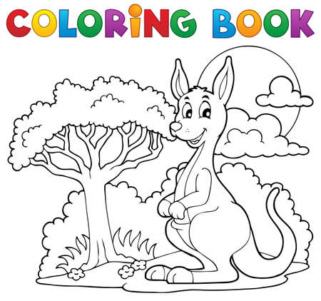 australian: Coloring book with happy kangaroo - vector illustration