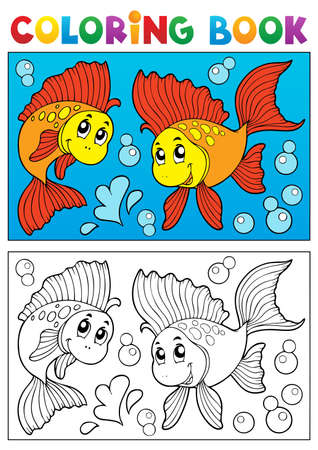 outline drawing of fish: Coloring book with marine animals 8 - vector illustration