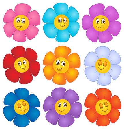 flower cartoon: Flor imagen Tema 4 - ilustraci�n vectorial Vectores
