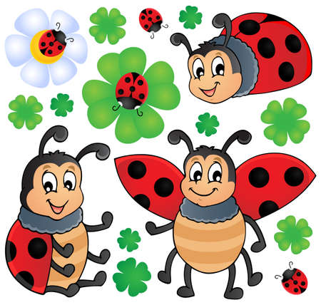 Image with ladybug theme 1 - vector illustration