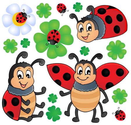 Image with ladybug theme 1 - vector illustration